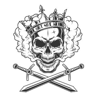 Cranio di principe vintage nella nuvola di fumo