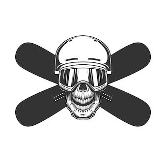 Cranio di snowboarder in casco e maschera
