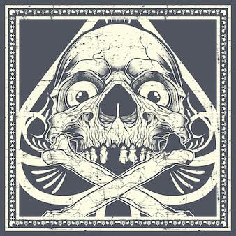 Cranio di stile grunge con ossa incrociate.