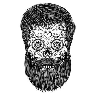 Cranio di zucchero barbuto. elemento per poster, carta, stampa, emblema, segno. immagine