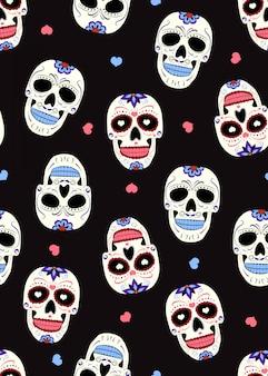Cranio di zucchero del giorno dei morti con ornamento floreale e motivo floreale senza soluzione di continuità