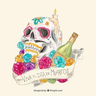 Cranio disegnato a mano, bottiglia e fiori