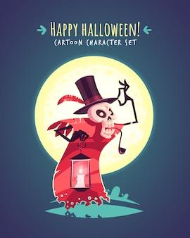 Cranio divertente cappellaio di halloween. illustrazione del personaggio