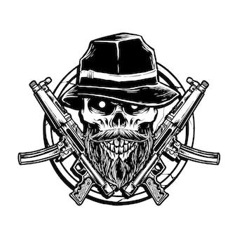 Cranio e arma di gangster