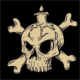 Cranio e candela di halloween
