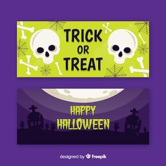 Cranio e morti piatti banner di halloween
