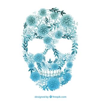 Cranio floreale in stile acquerello