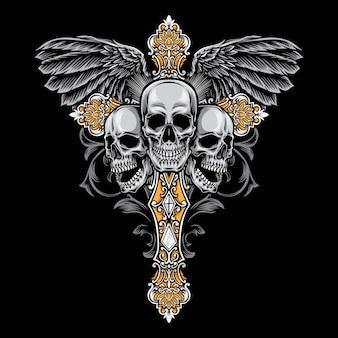 Cranio illustrazione croce gotica