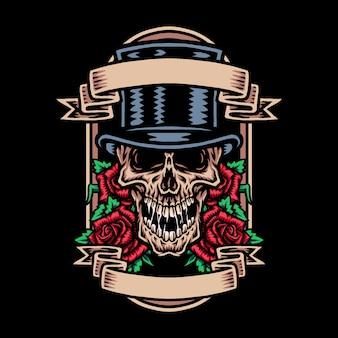Cranio in cappello a cilindro con fiore rosa
