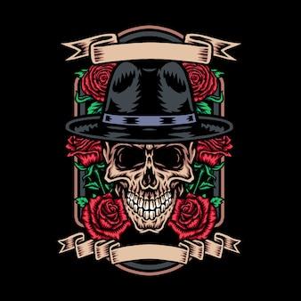 Cranio in cappello mafioso con fiore rosa