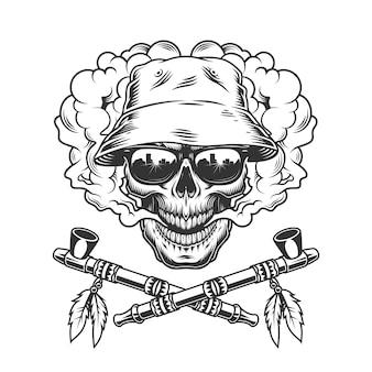 Cranio in cappello panama e occhiali da sole