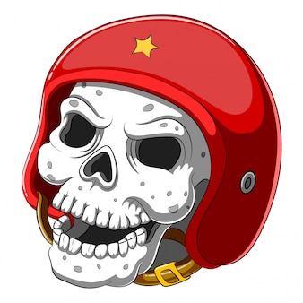 Cranio in casco rosso su sfondo bianco