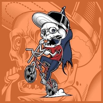 Cranio in sella a una bicicletta in possesso di bandiera