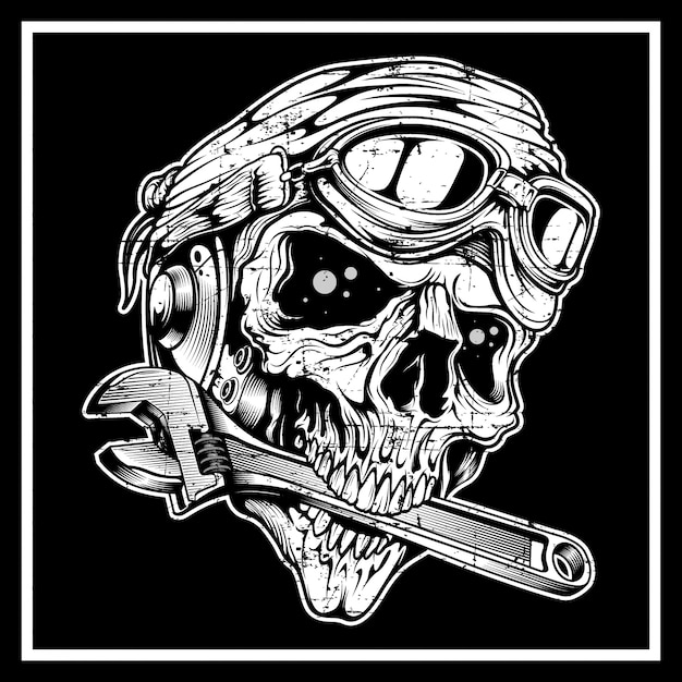 Cranio in stile vintage grunge il teschio morde la chiave inglese