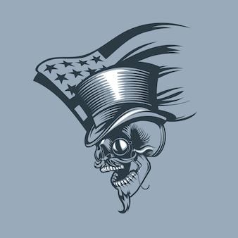 Cranio in un cilindro e pince-nez sullo sfondo