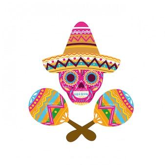 Cranio messicano con icona isolata maracas
