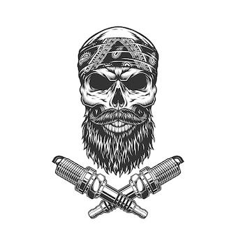 Cranio motociclista vintage con barba e baffi