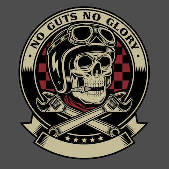Cranio motociclista vintage con emblema di chiavi inglese incrociate