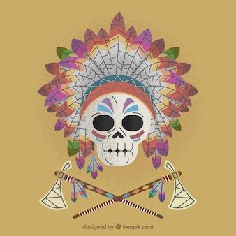 Cranio ornamentale con piume e assi