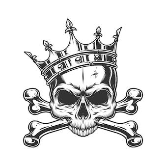 Cranio senza mascella nella corona reale