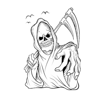 Cranio su nero su bianco, disegno a mano, isolato facile da modificare