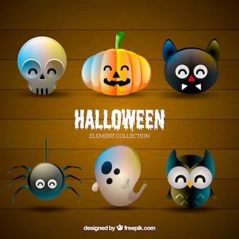 Cranio sveglio, zucca, gatto nero, ragno, fantasma e gufo per il design di halloween