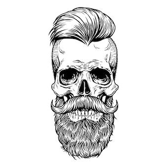 Cranio tatuaggio baffi barba hipster linea disegnata a mano art design stampa camicia, poster, tessuti,