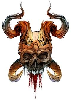 Cranio umano colorato grafico con corna deamon