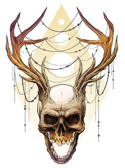 Cranio umano colorato grafico con corna di cervo
