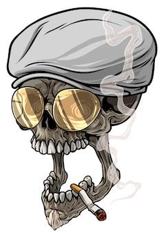 Cranio umano del fumetto in berretto con visiera e occhiali da vista