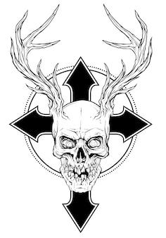 Cranio umano grafico con corna di cervo