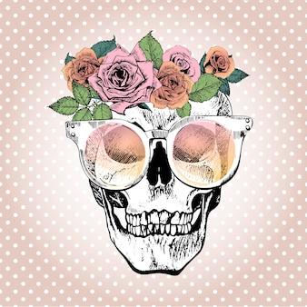 Cranio umano vettoriale con corona floreale e occhiali da sole.