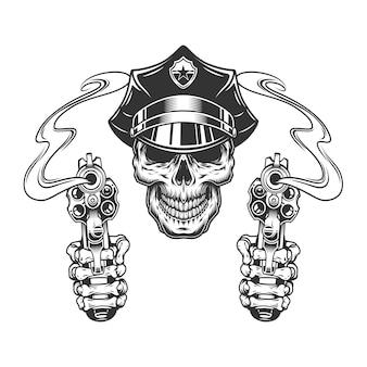 Cranio vintage in cappello della polizia