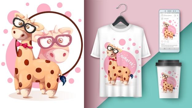 Crazy giraffe - mockup per la tua idea.