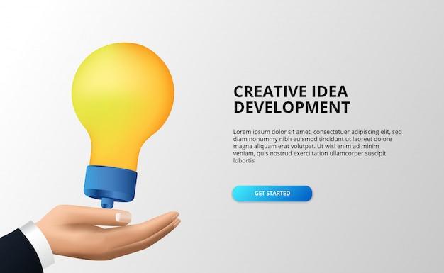 Crea grandi idee per lo sviluppo con la mano e la lampada 3d per il brainstorming, lo sviluppo, l'ispirazione