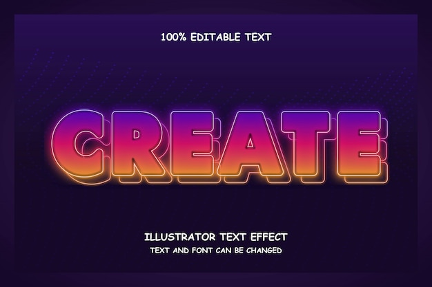 Crea, modificabile effetto testo moderno stile ombra al neon
