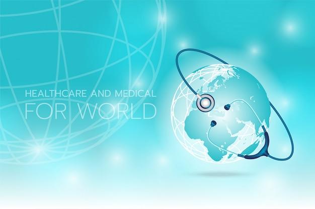 Crea un'immagine di stetoscopio medico arrotondando con la terra su uno sfondo ciano