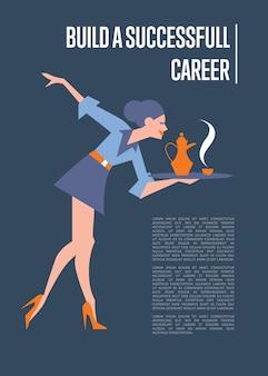Crea un modello di poster informativo sulla carriera di successo con il segretario