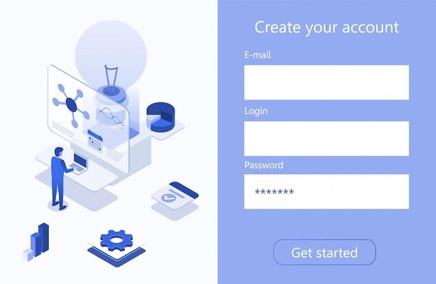 Creare la pagina di business analitico isometrico dell'account