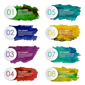 Creative acquerello splatter infographic design