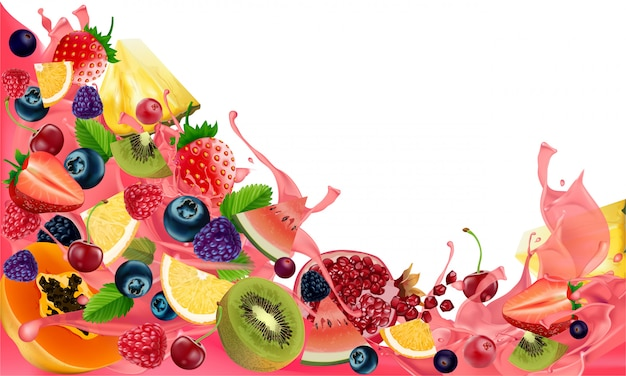 Creative mix di frutta sana per uno spuntino a basso contenuto calorico, isolato su sfondo bianco