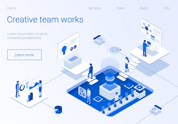 Creative team works lettering flat landing page