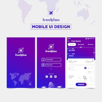 Creative travel app mobile ui design con modulo di accesso.