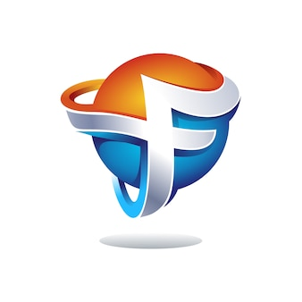 Creativo 3d lettera f logo design