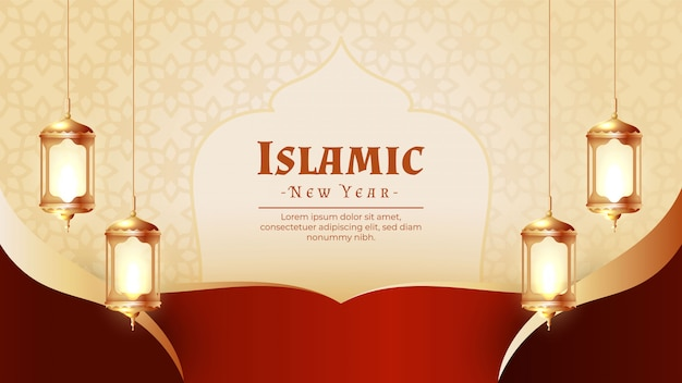 Creativo design del nuovo anno islamico con lanterne sospese