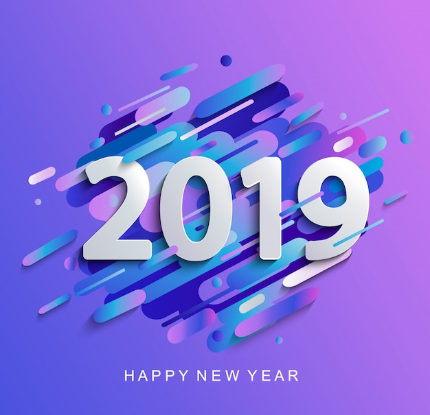 Creativo felice anno nuovo 2019 carta