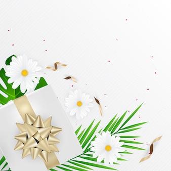Creativo layout naturale fiori tropicali e foglie verdi con gifl boox coriandoli arco