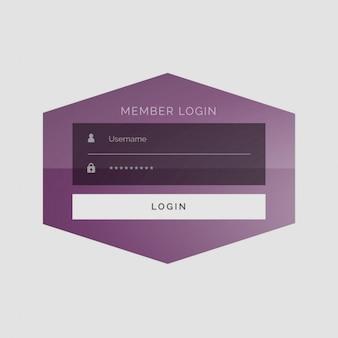 Creativo segno membro nel design sotto forma di interfaccia utente