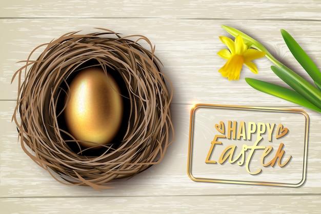 Creato nel realismo uovo nel nido sullo sfondo di un tavolo di legno