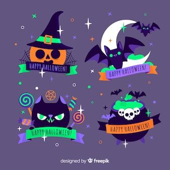 Creatura della collezione di etichette di halloween di notte